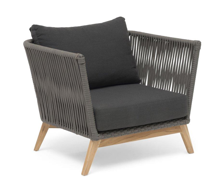 Himmelsnäs Lounge-Sessel Teak/Olefin-Bespannung dunkelgrau, inkl. Kissen