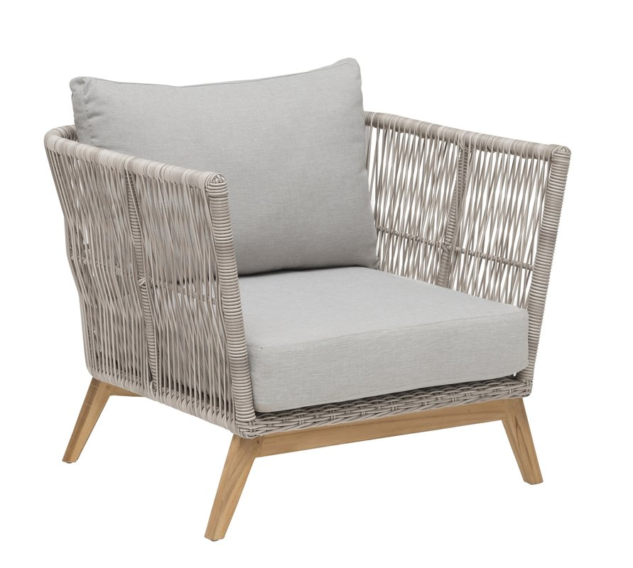 Himmelsnäs Lounge-Sessel Teak/Polyrattan-Geflecht beige, inkl. Kissen