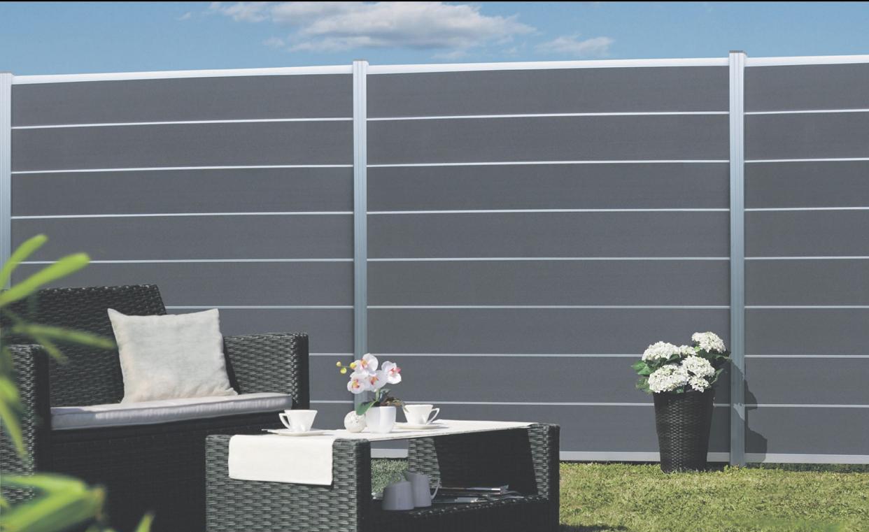 GOTLAND Steckzaun-Set für 1 WPC/Alu Zaunfeld 180x175 cm