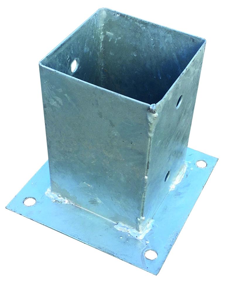 Pfostenträger mit Platte zum Aufschrauben für 9 x 9 cm Pfosten, feuerverzinkt