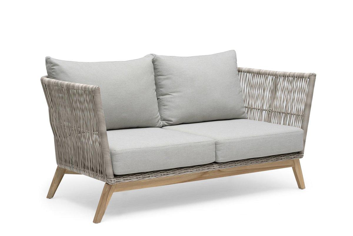 Himmelsnäs 2-Sitzer Sofa Teak/Polyrattan-Geflecht beige, inkl. Kissen