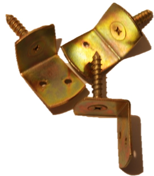 L-Winkel gelb verzinkt, 1 Stück Winkelbeschlag (ohne Schrauben)