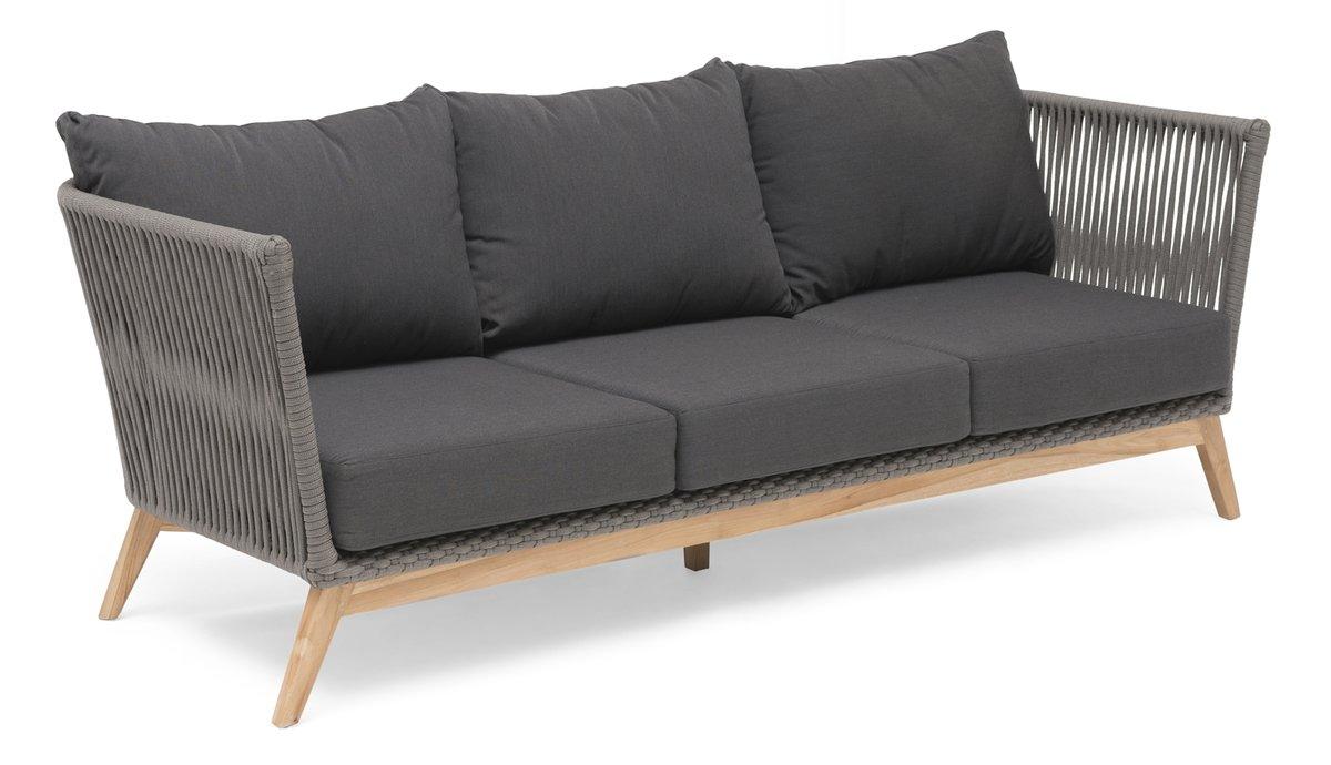Himmelsnäs 3-Sitzer Sofa Teak/Olefin-Bespannung dunkelgrau, inkl. Kissen