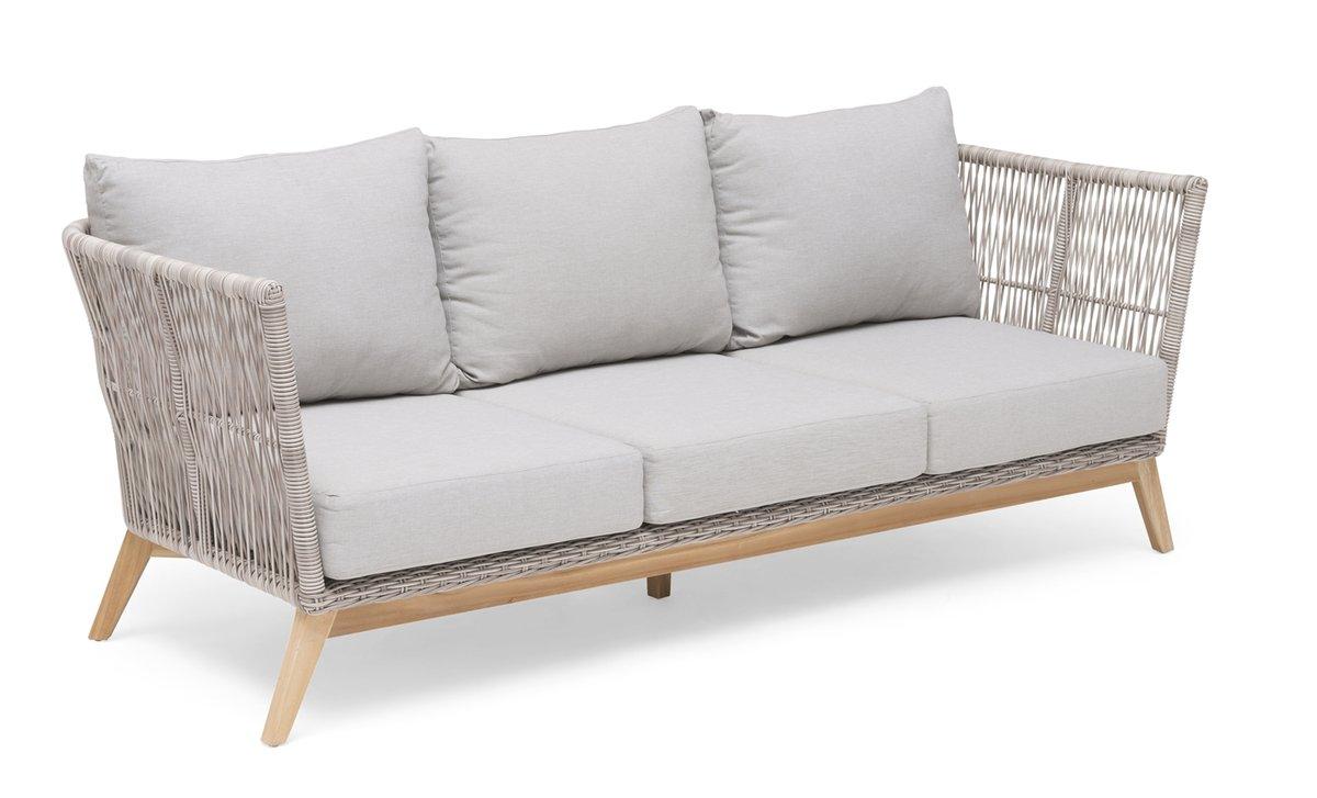 Himmelsnäs 3-Sitzer Sofa Teak/Polyrattan-Geflecht beige, inkl. Kissen
